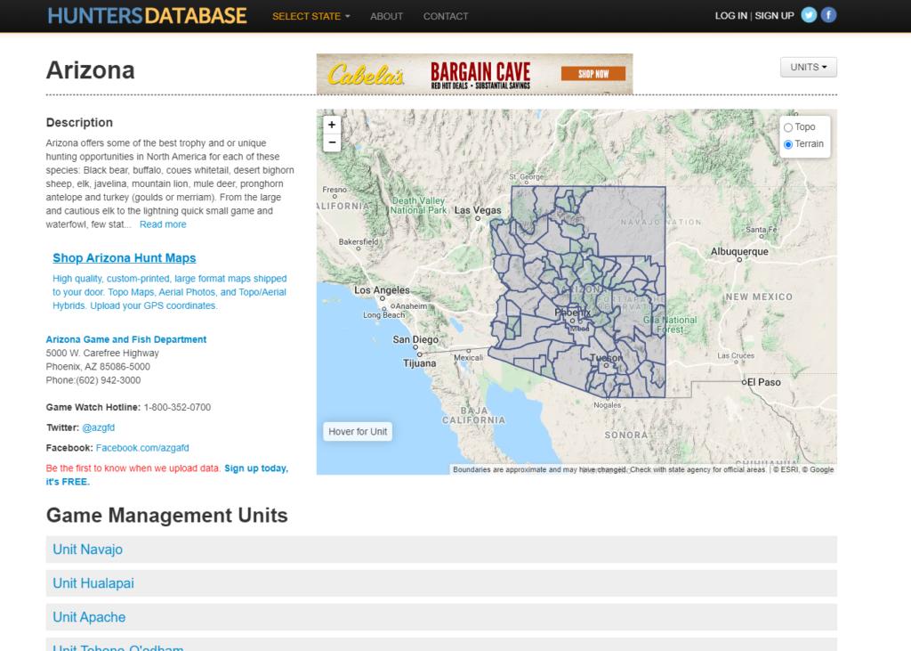 Hunters Database Arizona Page